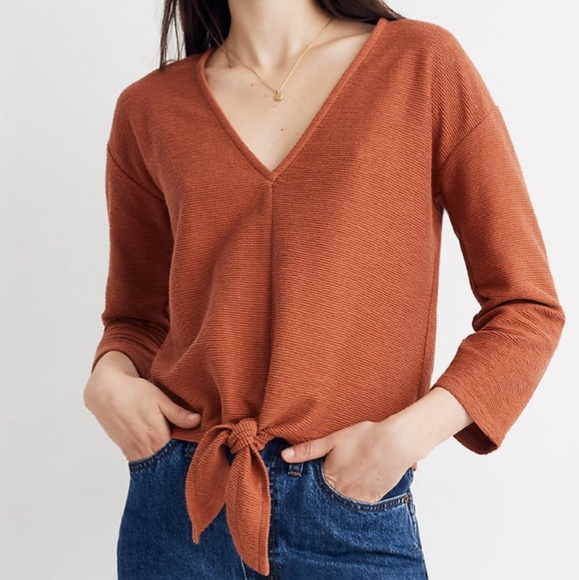 Madewell Tops - Madewell Textured Tie Front Top 🆕